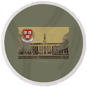 Harvard University Building Overlaid With 3d Coat Of Arms Round Beach Towel