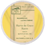 Harve De Grace Races Round Beach Towel