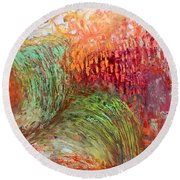 Harvest Abstract Round Beach Towel