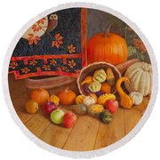 Round Beach Towel featuring the painting Harvest Bounty by Nancy Lee Moran