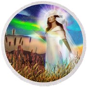 Round Beach Towel featuring the digital art Harvest Bride by Dolores Develde