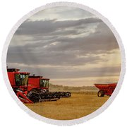 Round Beach Towel featuring the photograph Harvest Delayed by Rob Graham