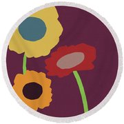 Harvest Flowers Purple- Art By Linda Woods Round Beach Towel