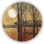 Harvest Moon Round Beach Towel by Donald Maier
