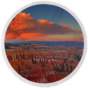 Harvest Moon Over Bryce National Park Round Beach Towel