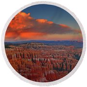 Harvest Moon Over Bryce National Park Round Beach Towel