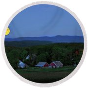 Harvest Moon Over Peacham Vermont Round Beach Towel