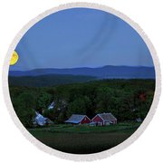 Harvest Moon Over Peacham Vermont Round Beach Towel