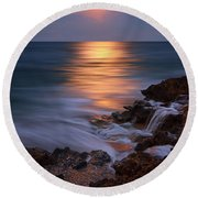 Round Beach Towel featuring the photograph Harvest Moon Rising Over Beach Rocks On Hutchinson Island Florida During Twilight. by Justin Kelefas
