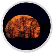 Harvest  Moon Rising Round Beach Towel