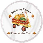 Harvest Red Wagon Pumpkins N Leaves Round Beach Towel