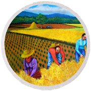 Round Beach Towel featuring the painting Harvest Season by Cyril Maza