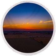 Harvest Sunrise Round Beach Towel