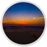 Harvest Sunrise Round Beach Towel
