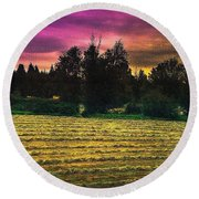 Harvest Twilight Round Beach Towel