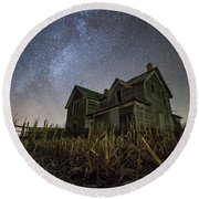 Round Beach Towel featuring the photograph Harvested  by Aaron J Groen