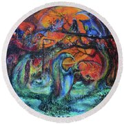 Harvesters Of The Autumnal Swamp Round Beach Towel