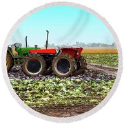 Round Beach Towel featuring the photograph Harvesting Time In Wisconsin  by Ricky L Jones