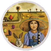 Harvey And The Eccentric Farmer Round Beach Towel by Leah Saulnier The Painting Maniac