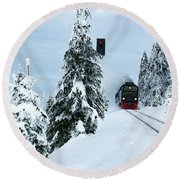 Harz Ballooning And Brocken Railway Round Beach Towel by Andreas Levi