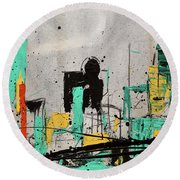 Round Beach Towel featuring the painting Hashtag City by Carmen Guedez