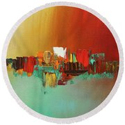 Hashtag Happy - Abstract Art Round Beach Towel