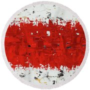 Hashtag Red - Abstract Art Round Beach Towel