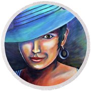 Hat Affair Round Beach Towel