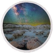 Hatched By The Stars Round Beach Towel