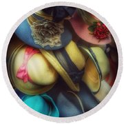 Round Beach Towel featuring the photograph Hats - A Cornucopia Of Color by Miriam Danar