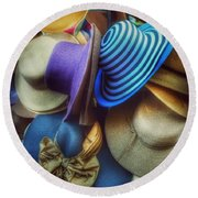 Round Beach Towel featuring the photograph Hats Of Yesteryear by Miriam Danar