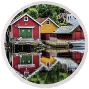 Haugesund Reflections Round Beach Towel by Shirley Mangini