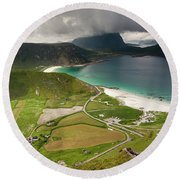 Haukland Valley And Beach From Mannen Round Beach Towel