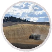Hauling The Harvest From The Fields. Round Beach Towel