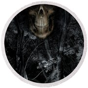 Round Beach Towel featuring the photograph Haunted Forest by Al Bourassa