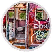 Haunted Graffiti Art Bus Round Beach Towel