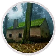 Round Beach Towel featuring the photograph Haunted House by Jorge Maia