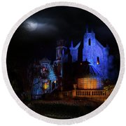 Haunted Mansion At Walt Disney World Round Beach Towel by Mark Andrew Thomas