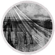 Round Beach Towel featuring the photograph Haunted Piano by Linda Sannuti