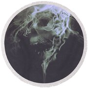 Round Beach Towel featuring the painting Haunted Smoke  by Tithi Luadthong