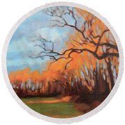 Round Beach Towel featuring the painting Haunting Glow by Andrew Danielsen