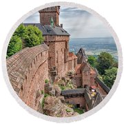 Round Beach Towel featuring the photograph Haut-koenigsbourg by Alan Toepfer