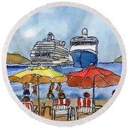 Hautuco Dock Round Beach Towel