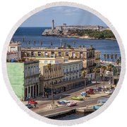 Round Beach Towel featuring the photograph Havana By The Port by Steven Sparks