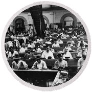 Havana Cuba - Cigars Being Rolled - C 1903 Round Beach Towel by International  Images
