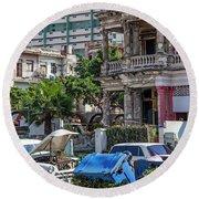 Round Beach Towel featuring the photograph Havana Cuba by Charles Harden