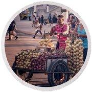 Havana Cuba Onion Cart Round Beach Towel