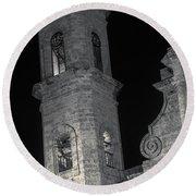 Havana Cathedral Tower Night Bw Round Beach Towel