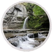 Eagle Cliff Falls II Round Beach Towel