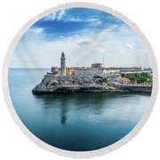 Havana Harbor  Round Beach Towel